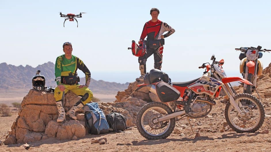 Riemann made Motonomad with a bag of camera gear, two dirt bikes, a drone and a good friend, Mark Portbury.
